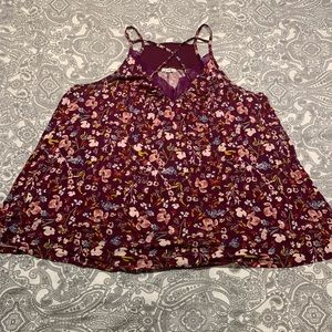 Maurice's Purple Floral Strappy Tank Size 2